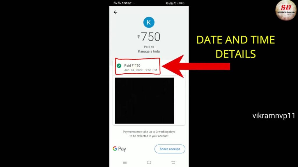 transaction details like date and time in google pay